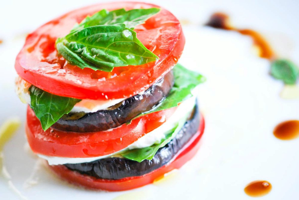 Stacked Grilled Eggplant and Tomato Salad