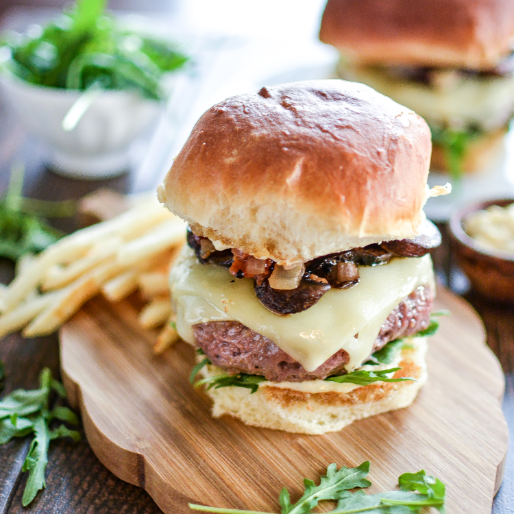 Truffle Burgers with Balsamic Glazed Mushrooms and Onion-Bacon Compote